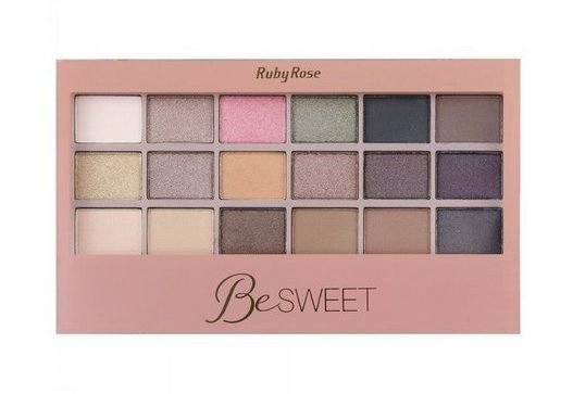 Paleta de Sombras com Primer Ruby Rose 18 Cores Be Sweet - HB9923