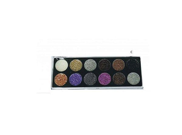 Paleta Eyeshadow Glitter 12 cores Luisance - L6035 C