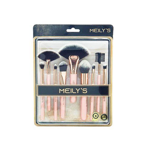 Kit com 9 Pincéis Meily's - Cor Salmão MKP 102