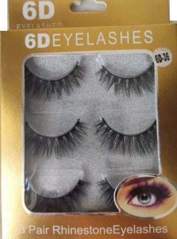 Cilios Postiços 6D Eyelashes - 3 pares