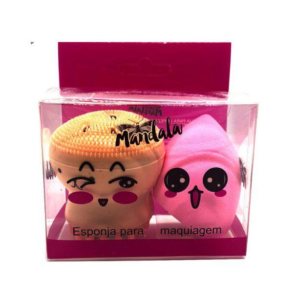 Esponja de limpza facial polvinho com esponjinha Mandala