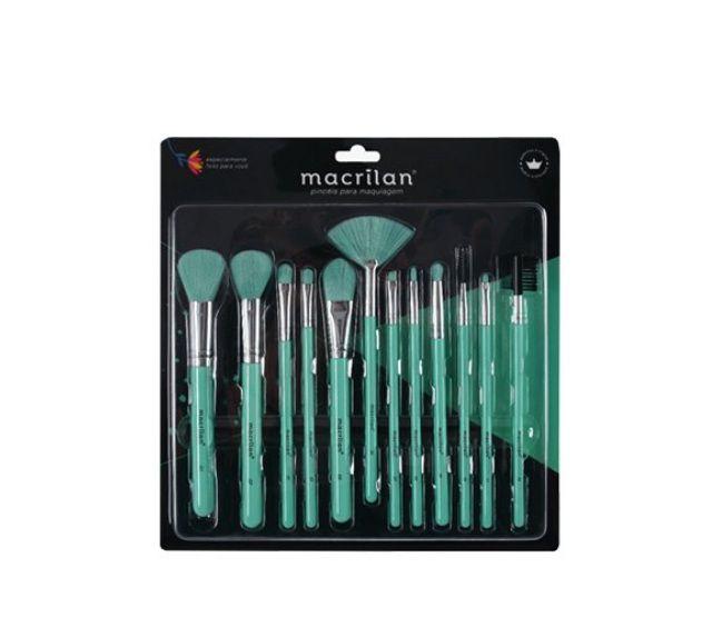 Kit com 12 Pincéis para Maquiagem Neon - Macrilan ED001 Verde