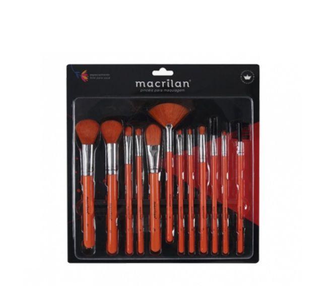 Kit com 12 Pincéis para Maquiagem Neon - Macrilan ED001 Laranja