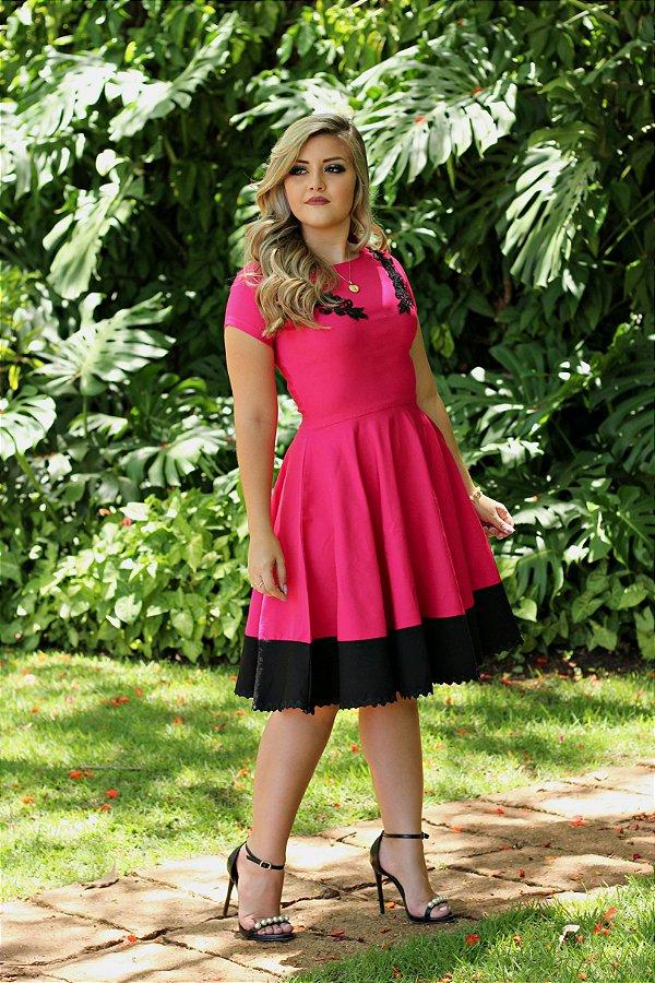 REF 1755 - Vestido Godê Pink c/ Barrado