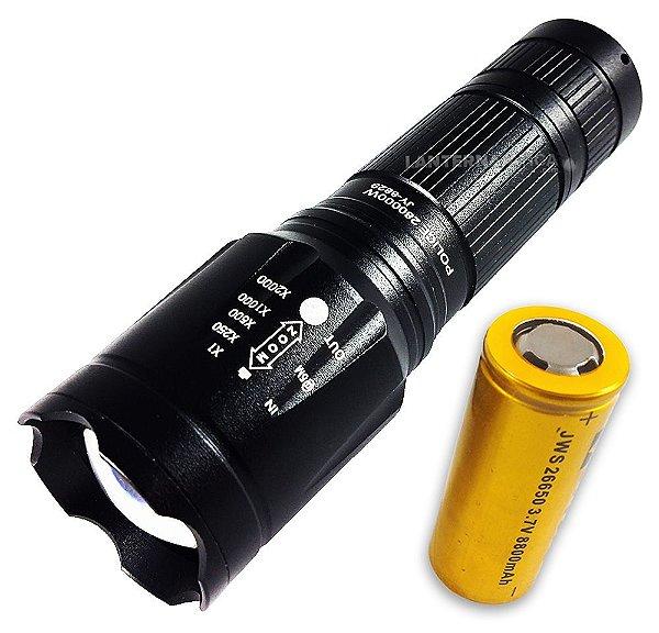 Lanterna Tática Fusion II Super Compacta 3.120.000 Lumens Bateria 26650 de Longa Duração LED Cree XML T6 L2