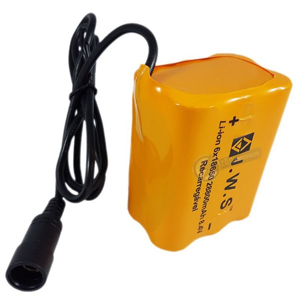 Bateria Para Farol de Bike 8.4V Super Potente Com 6 Células 28.800mAh