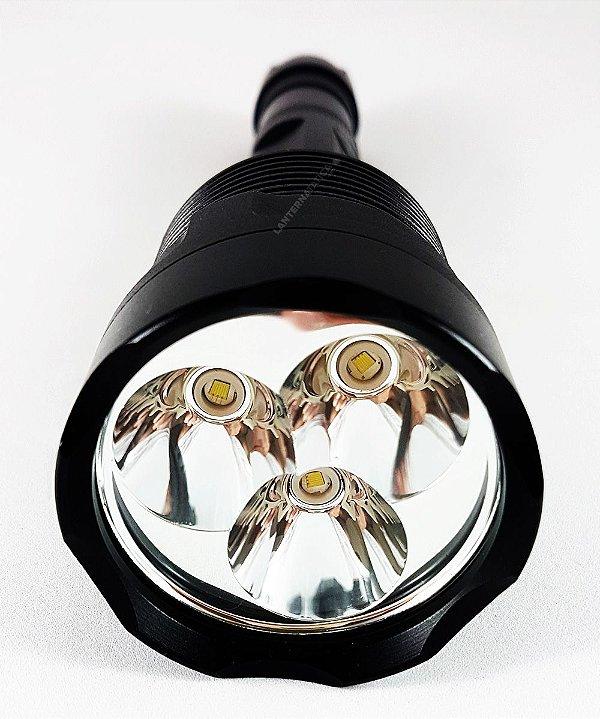 Lanterna Holofote Tática Monster Triple 2.170.000 Lumens Com 3 LEDS T6 L2 e 3 Baterias Gold