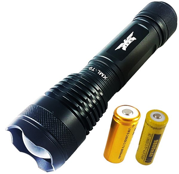 Lanterna Tática Militar Vulcan Com LED T9 Super Potente 6.400.000 Lumens + BRINDE Bateria Extra