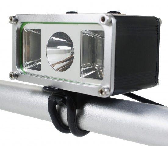 Farol Bike Monster Alert 905.000 Lumens Com 1 LED T6 + 4 LEDs R5 Azul e Vermelho - Veja o vídeo