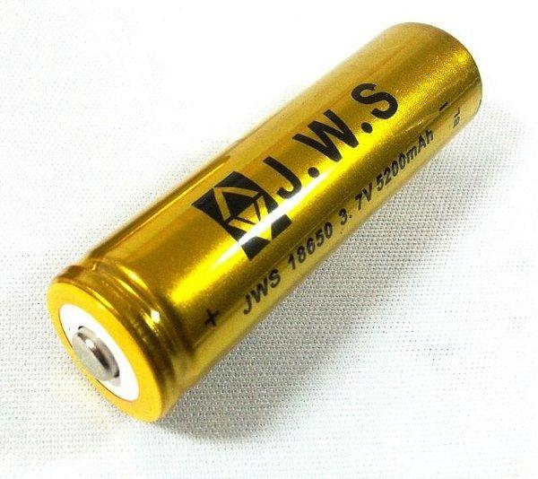 Bateria 18650 3.7V JWS GOLD Para Lanterna Tática Police Não Vicia