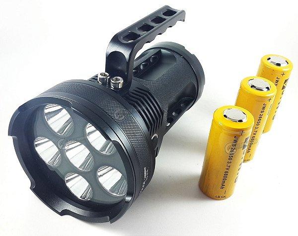 Lanterna Holofote Monster VI 1.950.000 Lumens Com 6 Leds T6 e 3 Baterias Gold 26650 Tática
