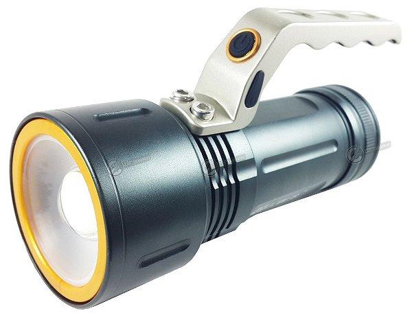 Lanterna Holofote Tatica Monster 720.000 Lumens LED T6 Com 2 Bateiras Gold