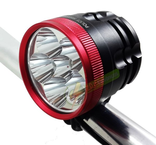 Farol Para Bike Monster Six 3.650.000 Lumens 6 Leds T6 6 Baterias Lanterna Bicicleta Mais Forte Do Mercado