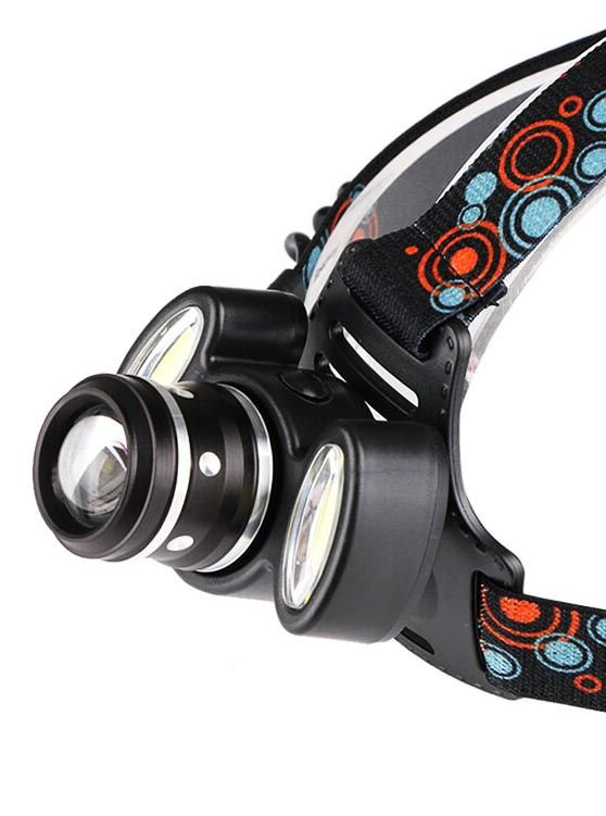 Lanterna de Cabeça Profissional Super Potente Equipada com LED T6 + 2 LEDs COB Bateria Recarregável Zoom