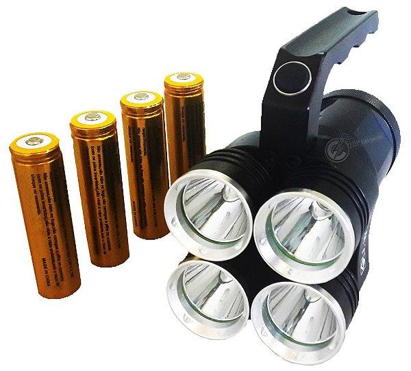 Lanterna Holofote Monster IV 1.920.000 Lumens Com 4 Leds XML T6 L2 Super White e 4 Baterias Gold 888.000w Tática