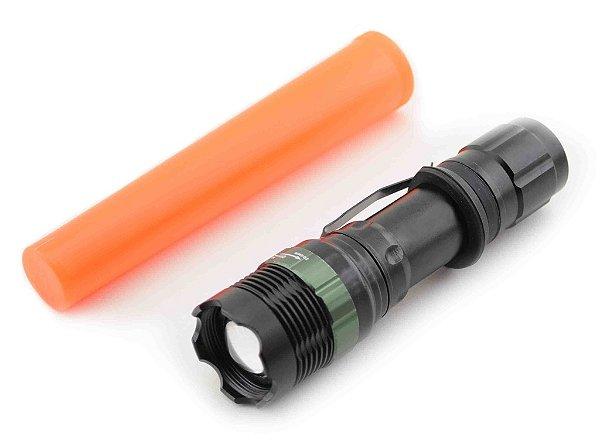 Lanterna Com Sinalizador Police Super Compacta Led Q5 Bateria Recarregável