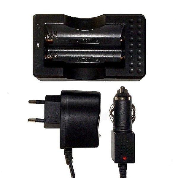Carregador Duplo de Bateria 18650 3.7 a 4.2V Para Lanterna Tática de LED