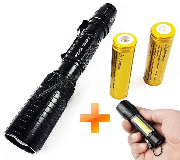 Lanterna Tática Gold II Profissional 3.170.000 Lumens LED T6 L2 2 Baterias