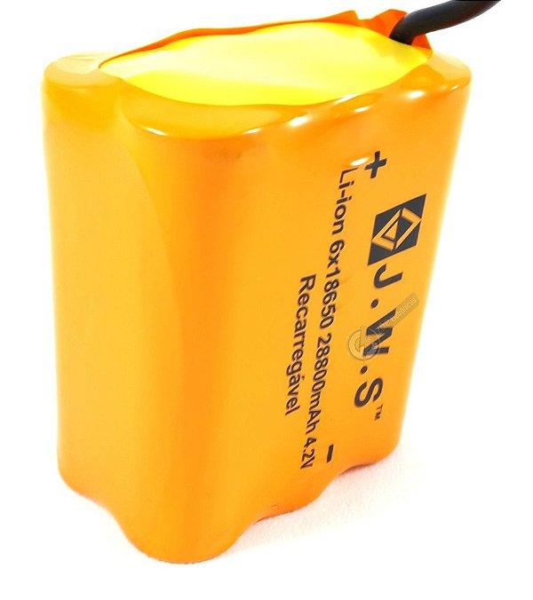Bateria Para Farol de Bicicleta Com 6 Células 28.800mAh Ultra Potente Até 8hs de Duração 4.2V