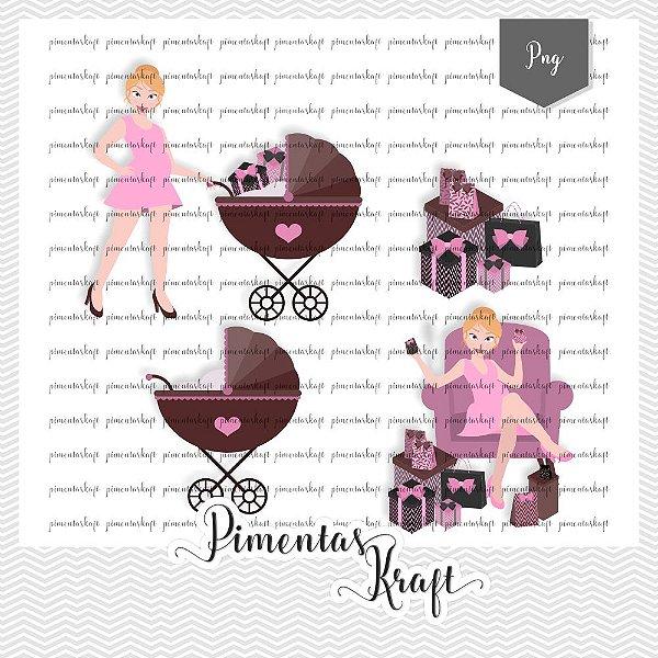 Kit Digital_Avatar_Chá de Bebê_Pink_Blonde