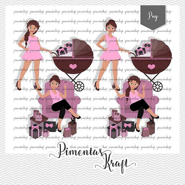 Kit Digital_Avatar_Chá de Bebê_Pink_Brunette