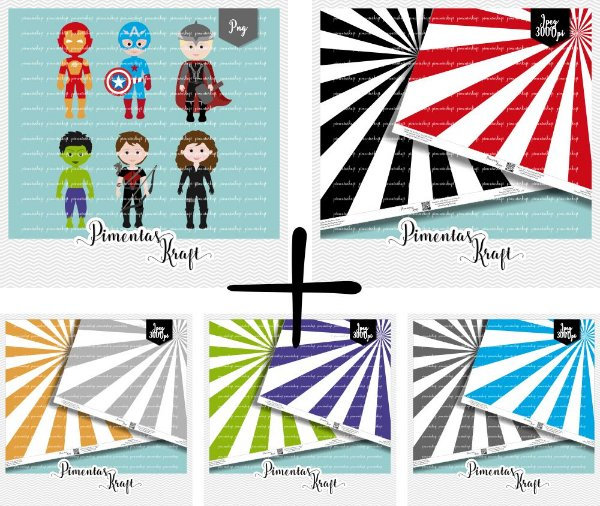 Kit Digital Clipart Os Vingadores + Kit Digital Papéis Starburst - Cores Sólidas