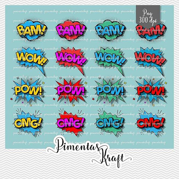 Kit Digital Clipart - Balões de texto_Heróis - Comics Text_Heroes by Eisabeth Pimenta