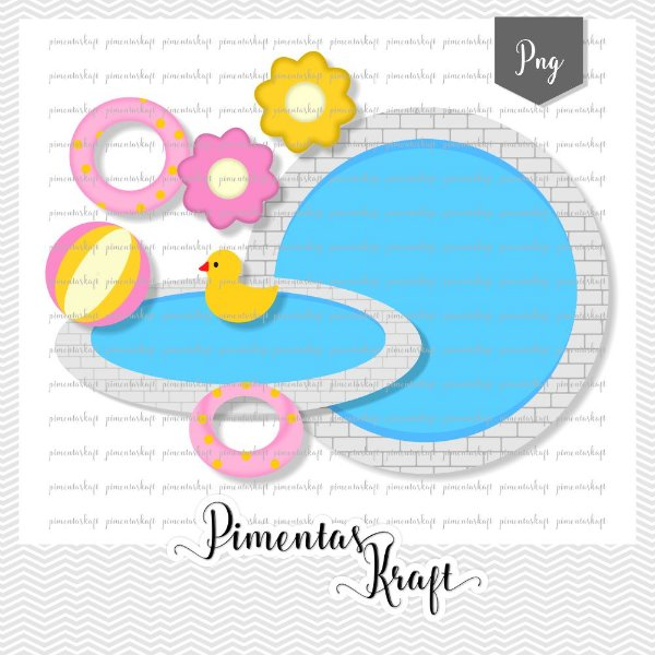 Kit Digital Clipart - Pool Party - Acessórios - Amelie e Annelise by Elisabeth Pimenta