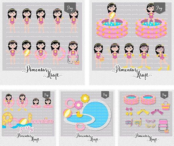 Kit Digital Pool Party Annelise + Kit Digital Pool Party Acessórios by Elisabeth Pimenta