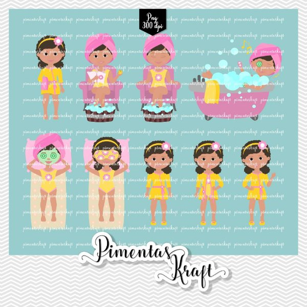 Kit Digital Clipart - Dia de Beleza Spa - Amelie