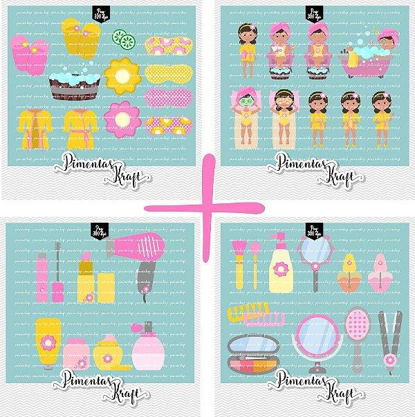 Pacote - Kit Digital Clipart - Dia de Beleza Spa + Kit Dia de Beleza Acessórios - Amelie