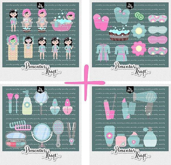 Pacote - Kit Digital Clipart - Dia de Beleza Spa + Kit Dia de Beleza Acessórios - Annelise