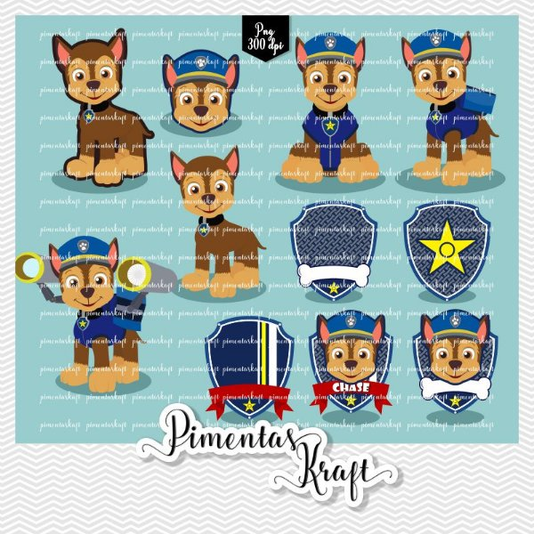 Kit Digital Clipart - Patrulha de Patinhas - CHASE