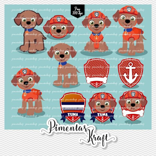 Kit Digital Clipart - Patrulha de Patinhas - ZUMA