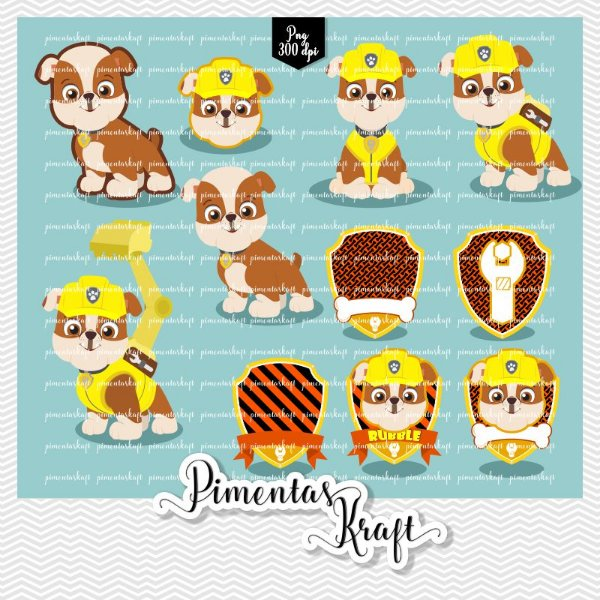 Kit Digital Clipart - Patrulha de Patinhas - RUBBLE