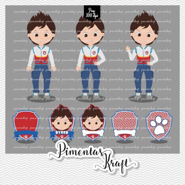 Kit Digital Clipart - Patrulha de Patinhas - RYDER