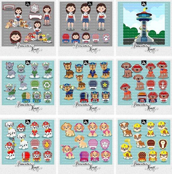 Kit Digital Clipart Patrulha de Patinhas Menina Completo