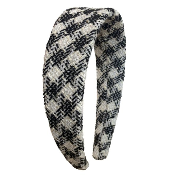 Tiara Flat de lã Tweed Xadrez Preto e Branco