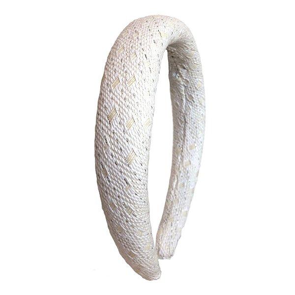 Tiara Espuma Tweed Branco Textura Dourada