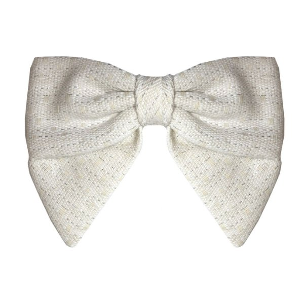 Fivela de Laço V Tweed Branco Textura Dourada
