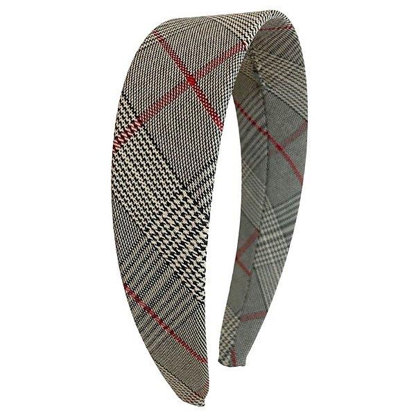 Tiara Flat Tweed Xadrez Cinza, Vermelho e Branco
