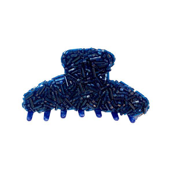 Presilha de Cabelo Azul Perolado Com Canutilhos
