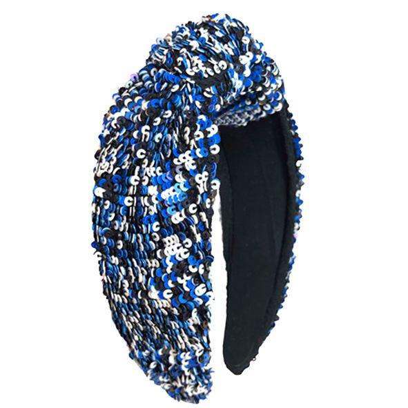Turbante de Mini Paetês Azul, Preto e Branco