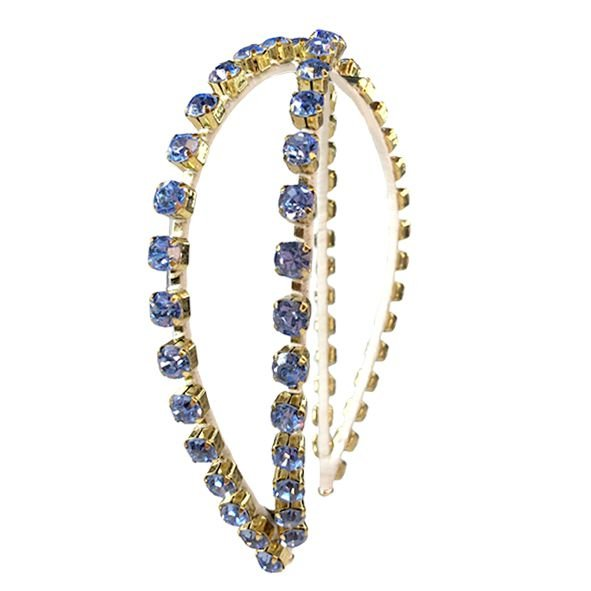 Tiara Metal Correntes X Azul