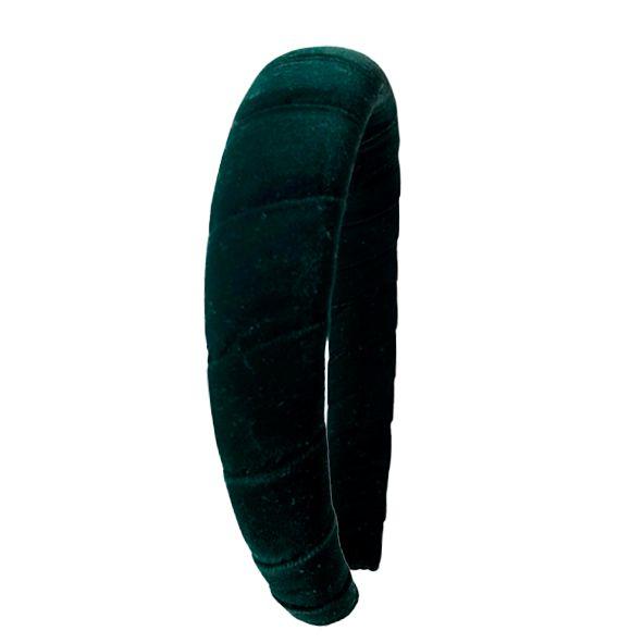 Tiara Espuma de Veludo Enrolado Verde Escuro