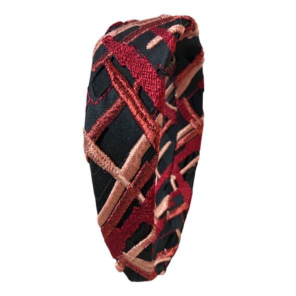 Tiara Flat de Renda Quadriculada Vermelha, Preta e Rosa