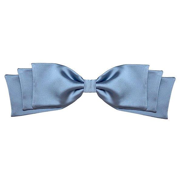 Fivela de Laço Camadas de Cetim Azul Perolado