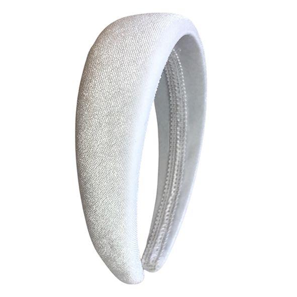 Tiara Alta de Veludo Branco