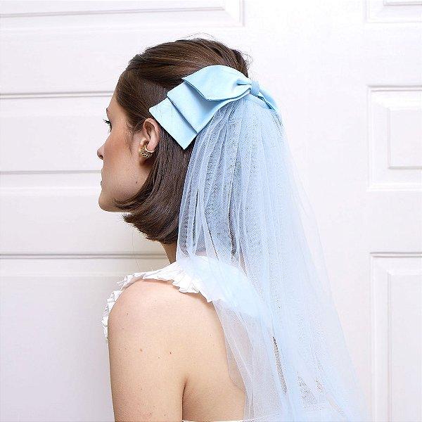 Véu de Tule Azul Piscina
