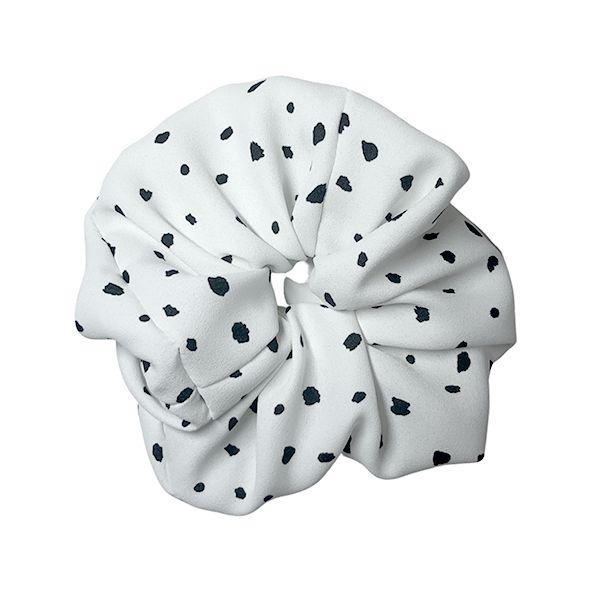 Elástico - Scrunchie de Crepe Branco Flocos